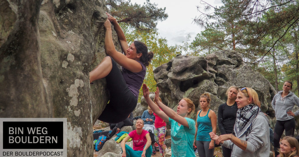 At the Women's Bouldering Festival 2018 in Fontainebleau
