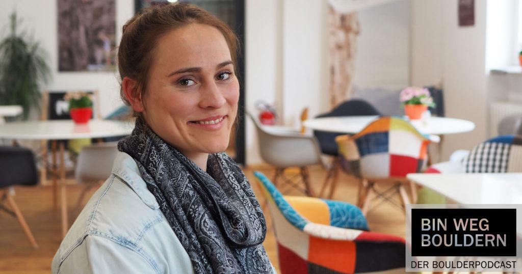 Afra Hönig beim BIN WEG BOULDERN-Interview in der Einstein Boulderhalle München
