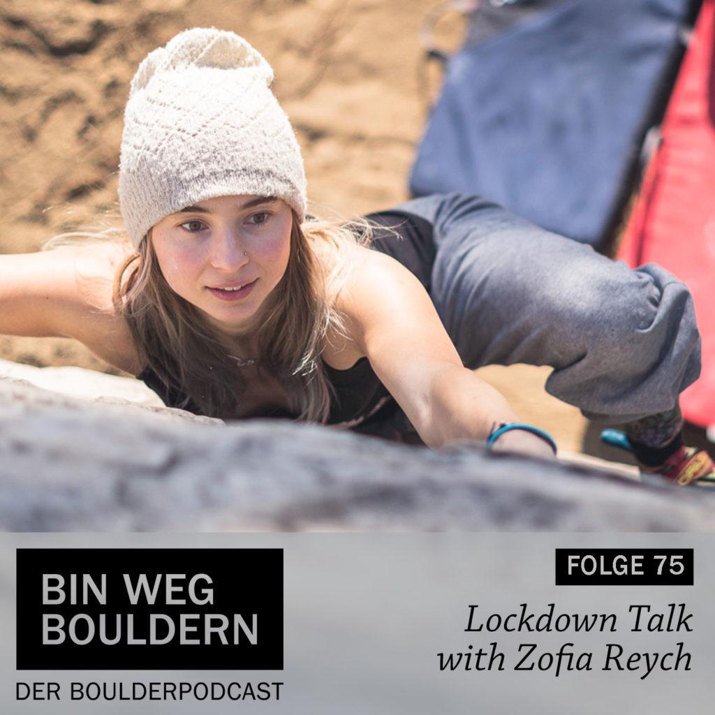 Zofia Reych beim Bouldern in Fontainebleau
